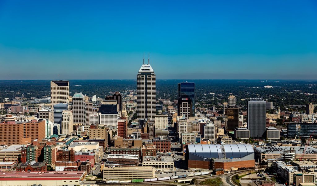 The skyline of Indianapolis, Indiana.