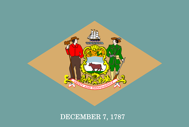 A stylized image of the flag for the state of Delaware.