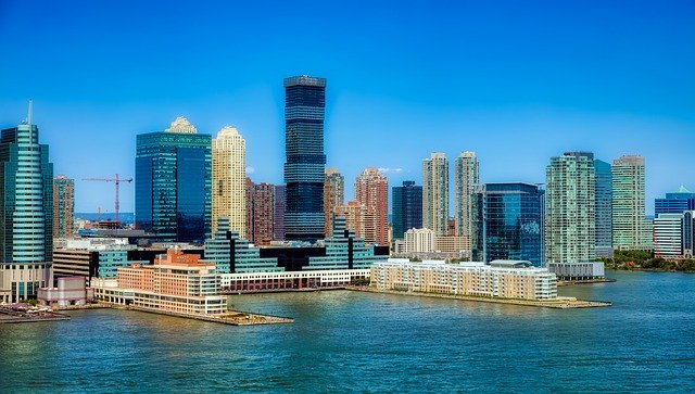 An image of the skyline of Jersey City, NJ.