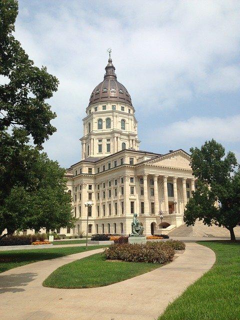 Kansas State Capitol in Topeka, the capital city of Kansas.
