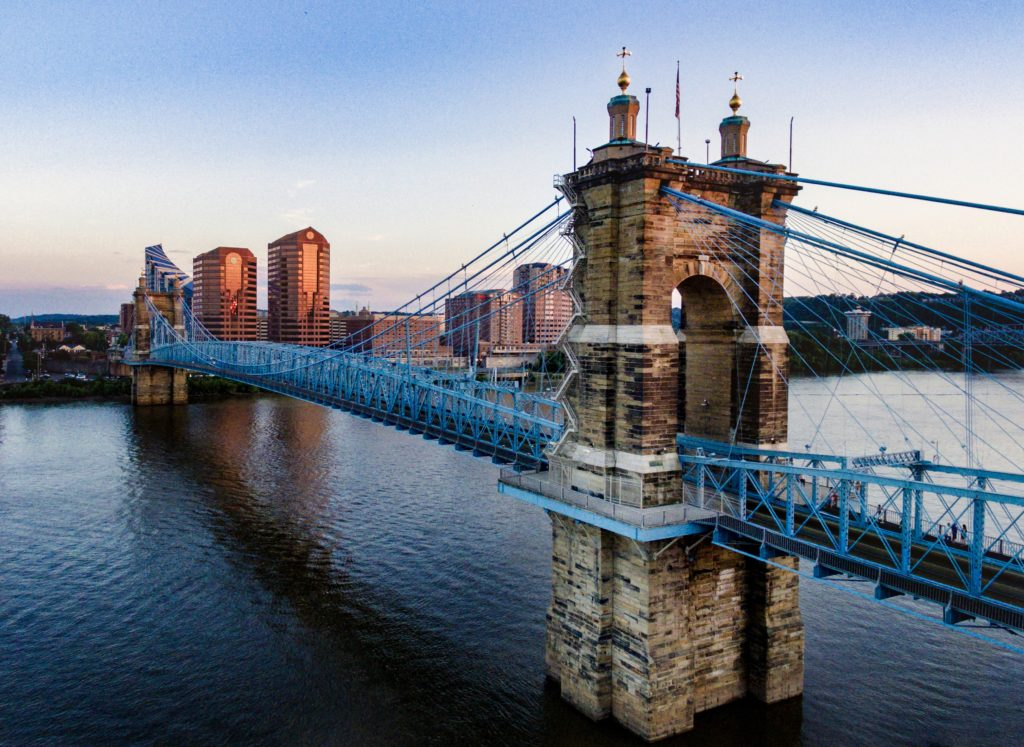 A picture of the Roebling Suspension Bridge, which spans the Ohio River and connects Cincinnati, Ohio with Covington, Kentucky.